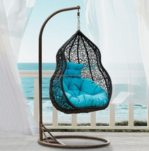 rattan hanging swing chair+metal swing frame for garden swing chair