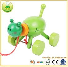2015 cute wooden animal vehicle, classic toy wooden animal car for baby
