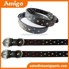 faux leather dog collar,fake diamond pet dog collar