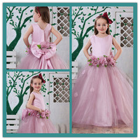 HT113Pink Organza Ball Gown Beaded Floor Length kids dresses for weddings