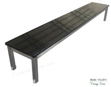 Triumph stone garden bench / stainless steel base park bench marble top chair/ 3 seater bench