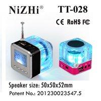 NiZHi TT028 Mini Cube Speaker With FM Antenna,LCD Display And Fantastic Led Flashing Lights