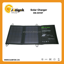 PET laminated 7w folding panel charger/ fabric solar charger with 1000ma output for phone