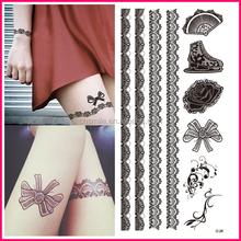 New Fashionable 2015 custom flash sexy temporary black henna tattoo lace tattoo sticker for body