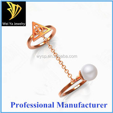 Wholesale stainless steel fashion rose gold pearl custom rings