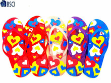 Manufacturer cheap fashion colorful silk printed PVC strap PE slippers beach flip flop for women
