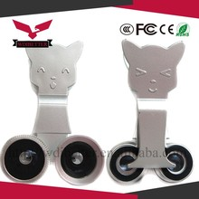 cat shape clip universal camera lens in blue red and black with 180 degree fisheye, wide angle and Macro lens
