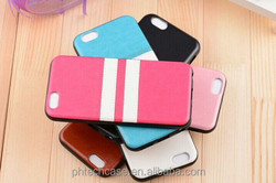 Stripe Pattern TPU Back Cover PU Leather Case for iPhone 6 Plus 5.5 inch