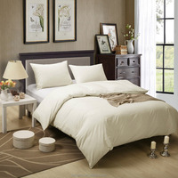 Luxurious designs Honeymoon 180T 100% cotton Baumwolle 3PC bedding set - Beige, solid duvet set
