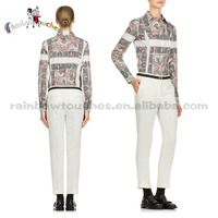 2014 New Styles Beautiful Printed Design Long Sleeve Blouse For Women