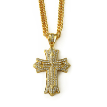 china wholesale hip hop jewelry bling crystal iced out gold cross pendant necklace pendant with long chain