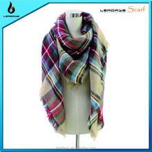 fashion fringe plaid blanket viscose pashmina shawl