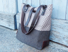 Cotton canvas Bag,Cotton Canvas Tote, Shoulder Bag,canvas bag with Leather handles in Polka Dots,custom printing fabric tote bag