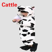 wholesale super soft flannel kid animal onesie cattle sleepwear