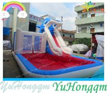 Backyard Lawn Shark Inflatable Water Pool Slide for Kids Play