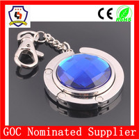 wholesale personalized retractable jewelry blue keyring with carabiner keychain, jewel with many color (HH-keychain-572)