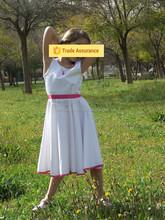 New design for frock white cotton fabric pattern sleeveless dress frock design girls summer frock designs