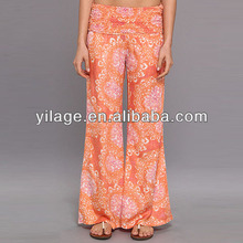 diseñado con estilo suelto grande pantalones largos de encargo de poliéster de impresión digital de pantalones