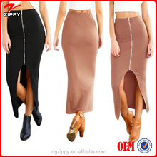 Women Lady Sexy High Waist Thigh High Slit Slim Bodycon Pencil Zipper Midi Long Skirt