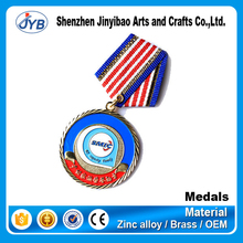 2015 new design zinc medal with reflective ribbon for gifts promotion