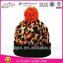 design own logo jacquard custom beanie hat with top ball