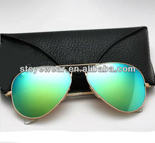 Metal Aviator Sunglasses with green mirror lenses