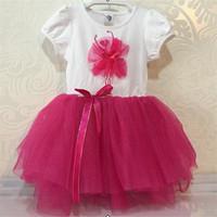 New Design Ready Made Garments Wholesale Market Lovely Like Dancing Girl Pattern Dress Bowknot Short Sleeve Girl Dress L15044