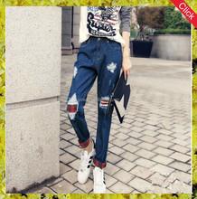 2015latest design fashion girl ripped denim jean mid-rise jean/ Funky lady brand designer jean