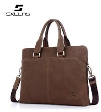 Brown matte leather bag for men