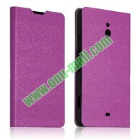 Tree Bark Texture Leather Flip Stand Soft Case for Nokia Lumia 1320