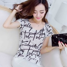 New arrival o neck full printing o neck lady woman t-shirt