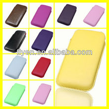 2013 New Hot Plain Color Pull Tab Pouch Leather Cover for Samsung Galaxy S4 i9500 Cell Phone Cases Covers Leather Bag/Poke/Sack