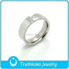Top Quality Fashion Jewelry Wholesale 316L Stainless Steel Sparkly Diamond Finger Ring Custom Design For Mens