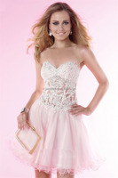 Sexy Strapless Appliques Beading Lace Up Organza romper prom dress Cocktail dresses FXL-761