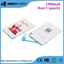 custom logo credit card mini power bank 2500mah