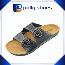 Comfortable cork sole men balck leather shoes slipper with buckle