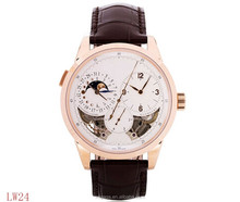 Sapphire glass Moon Phase 3 time zones Chronograph Men mechanical watches