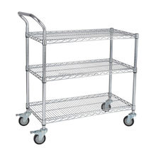 Anti-static wheel cart 4 tiers wire mesh trolley warehouse cago trolley cart
