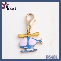 Hot wholesale Popular Design alloy dangle charms, logo enamel airplain charm dangles with lobster