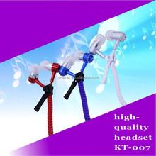 exquisite packaging free sample in ear zipper earphone, zip earphone