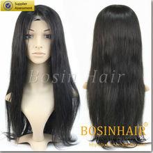 Womens Girls Fashion Wavy straight wave Long Hair Human Full Wigs + Hairnet