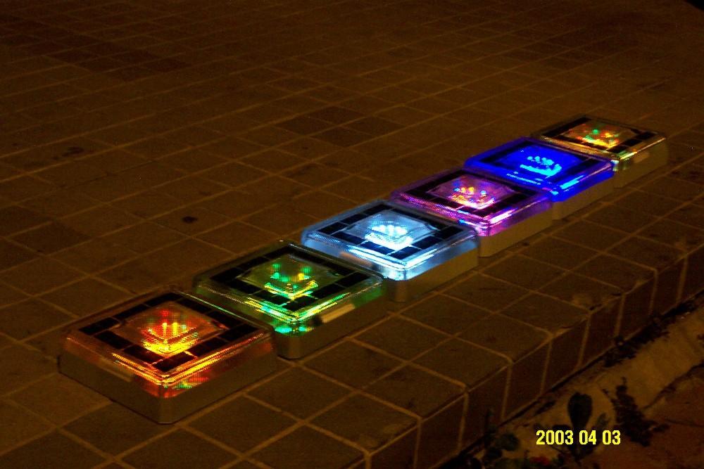 Ladrillo de vidrio solar decoración patio iluminado camino césped ...