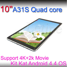 10 a31s pulgadas quad core 4.4 android os,/bluetooth wifi tablet pc caliente a la venta