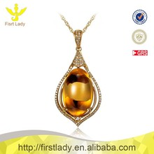 NEW 18K Solid Yellow Gold Real Diamond Citrine Pendant Jewels