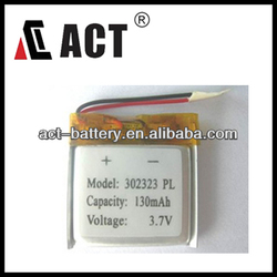 3.7V 302323 130mAh Lithium ion Polymer mp3 mp4 mp5 battery replacement battery