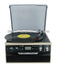 Charming Retro Chic! Multi-function Record Player&Vinyl Records with AUX Input&USB/SD Record/CD Player/AM,FM Radio/Cassette