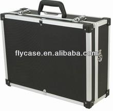 camera photo equipment carrying case black aluminum exterior combination lock
