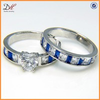Heart Cut White and Blue Womens Wedding Ring Set,Promise Ring Set
