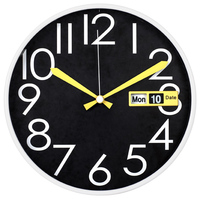 12 inch high quality plastic frame big numbers wall clocks with day and date