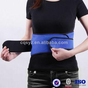 azul de compresión de neopreno soporte lumbar ajustable con velcro posterior brace